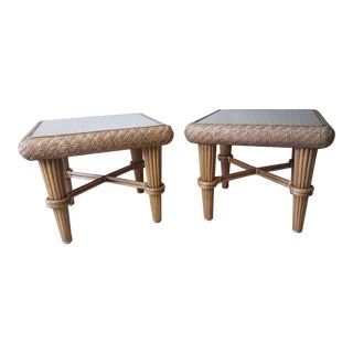 Braxton Culler Honey Rattan End Tables - A Pair For Sale
