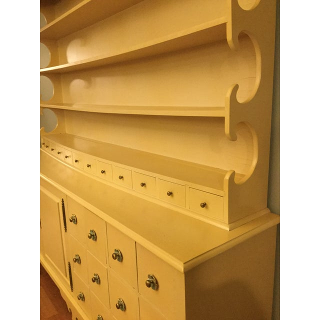 """Yellow Vintage Farmhouse """"Breakfront', """"Open Hutch Sideboard' For Sale - Image 8 of 13"""