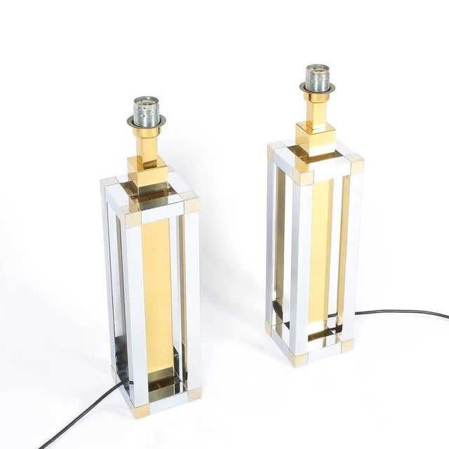 Gold Pair of Chrome and Brass Table Lamps by Romeo Rega For Sale - Image 8 of 10