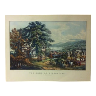 "Currier & Ives American Print, ""The Home of Evangeline"" by Crown Publishers, Circa 1950 For Sale"