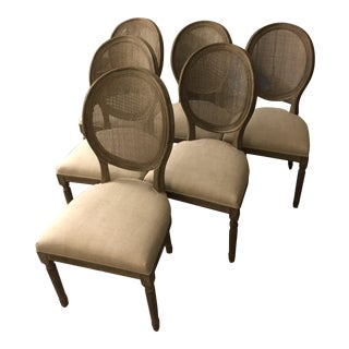 Restoration Hardware French Round Cane Back Fabric Side Chairs - Set of 6