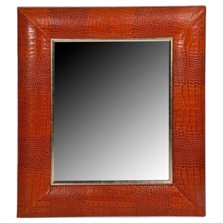 Cognac Classic Crocodile Leather Framed Mirror For Sale