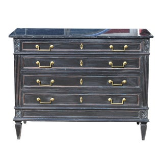 Louis XVI Style Ebonized Marble-Top Chest For Sale
