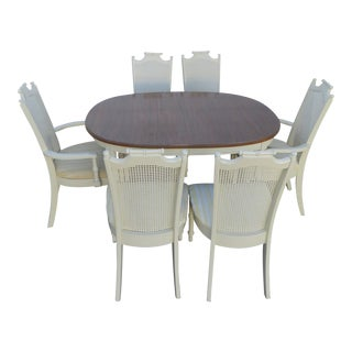 Hollywood Regency Faux Bamboo Painted Dining Table 1 Leaf and Six Chairs For Sale