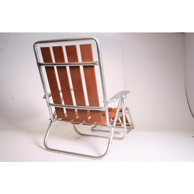 Brown Mid Century Redwood Aluminum Folding Chaise Lounge Chair For Sale - Image 8 of 11