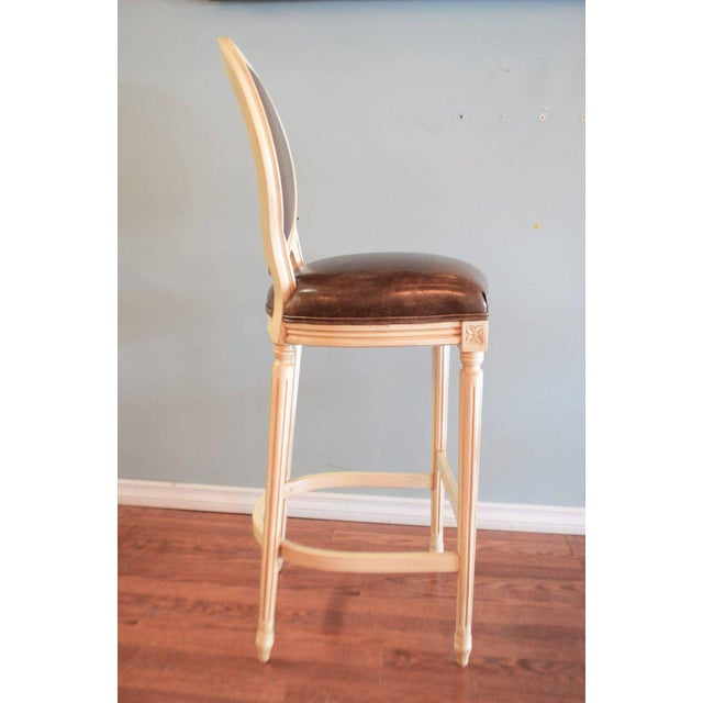 Louis XVI Louis XVI Style Painted Oval Back Bar Stool for Custom Order For Sale - Image 3 of 9