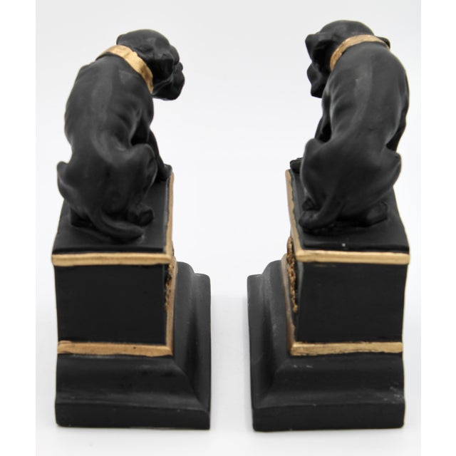 Black Mid 20th Century Black and Gold Ceramic Dog Bookends For Sale - Image 8 of 13
