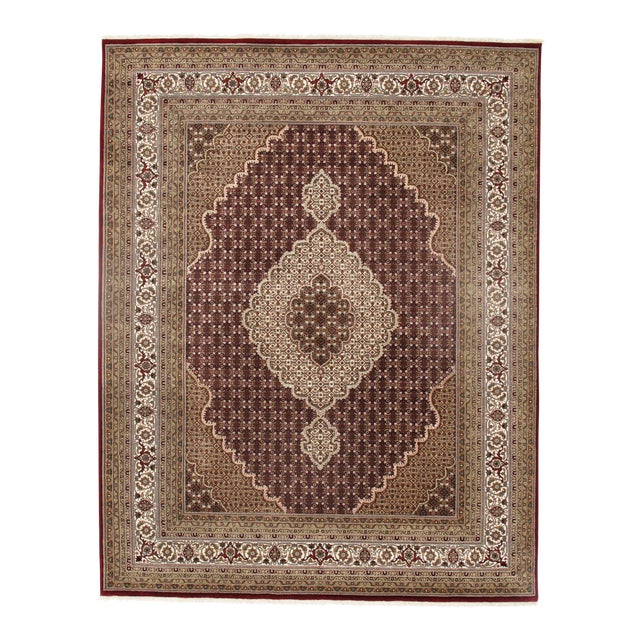 Pasargad N Y Fine Tabriz Mahi Design Silk & Wool Rug - 8′1″ × 10′4″ For Sale
