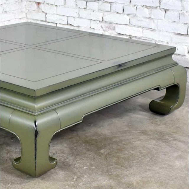 Monumental Square Asian Ming Style Lacquered Coffee Table in Sage Green For Sale - Image 9 of 13