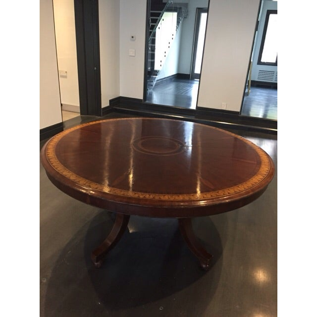 Round to Oval Inlaid Oak Extension Dining Table - Image 2 of 11