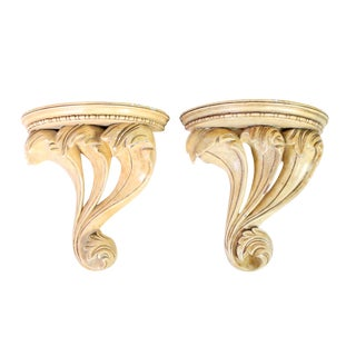 1970's Neoclassical Romanesque Ornate Plaster Corbels by Maitland Smith - a Pair For Sale