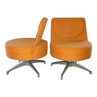 Modern Orange Swivel Chairs - A Pair
