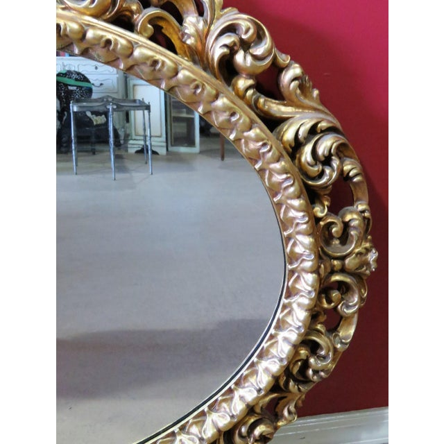 French Gilt Carved Oval Mirror For Sale - Image 3 of 3