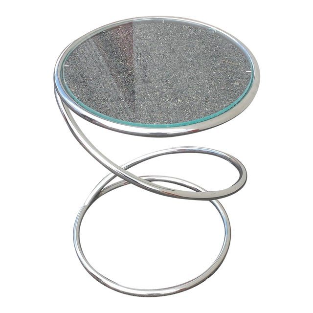 Chrome Glass Spiral Table by Leon Rosen for Pace - Image 1 of 5