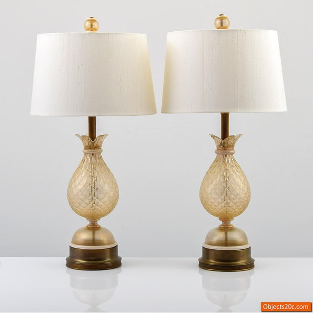 Vintage Mid Century Barovier & Toso Style Lamps- A Pair For Sale - Image 10 of 10