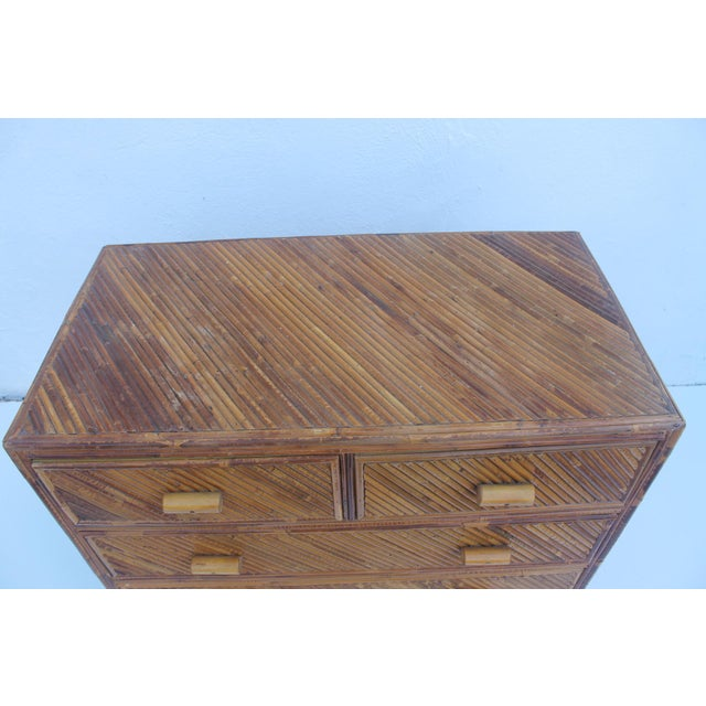 Vintage Pencil Reed & Rattan 5 Drawer Chest - Image 5 of 11