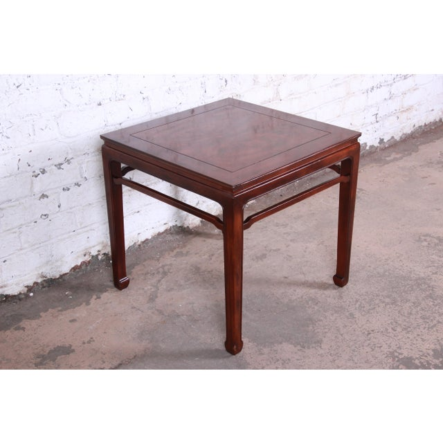 Henredon Henredon Hollywood Regency Chinoiserie Burl Wood and Mahogany Side Table For Sale - Image 4 of 7