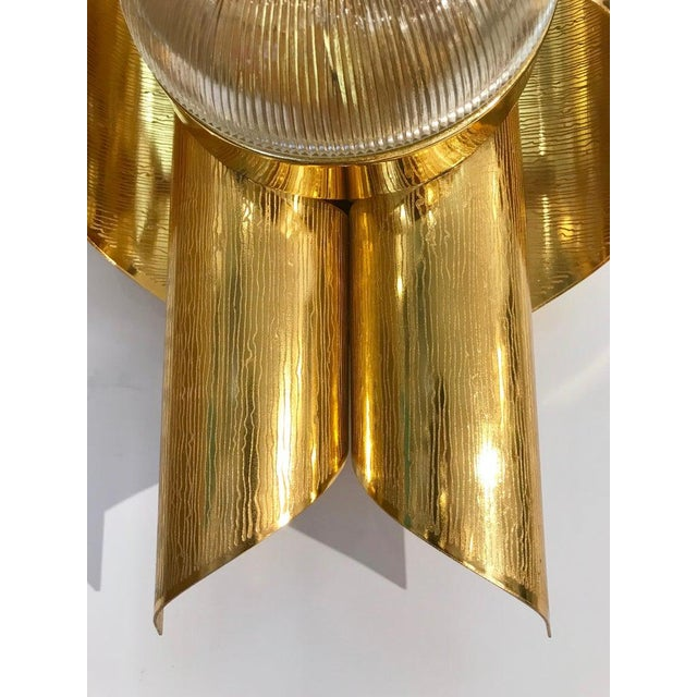 1970s Vintage Late 1970s Modern Folded Brass and Clear Glass Sconces - a Pair For Sale - Image 5 of 13