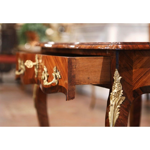 19th Century French Louis XV Marquetry and Bronze Ladies Desk With Leather Top For Sale - Image 10 of 13