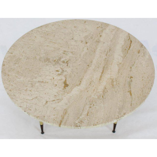 Gio Ponti Italian Modern Round Travertine Top Coffee Table on Tapered Metal Legs Base For Sale - Image 4 of 11