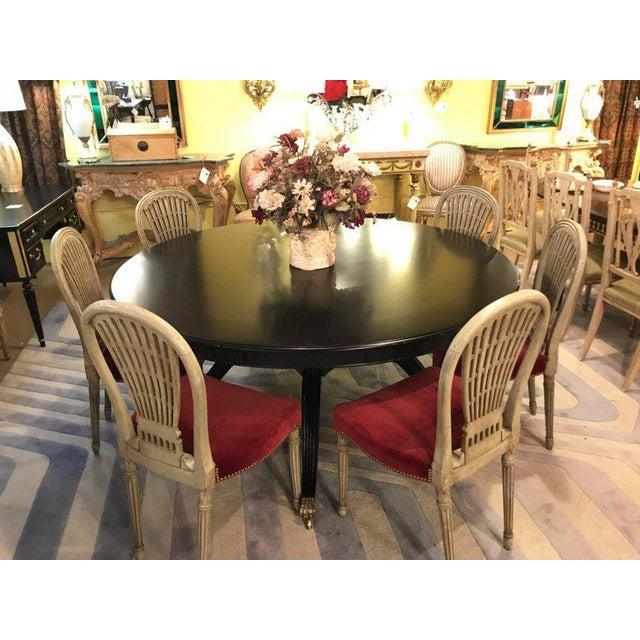 Monumental Hollywood Regency Custom-Made Ebony Circular Extending Dining Table For Sale - Image 10 of 12