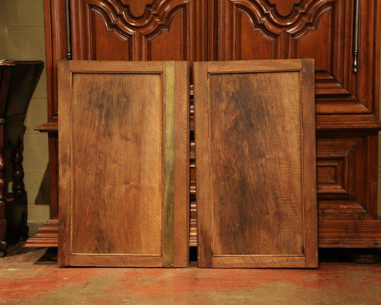 large pair of 19th century french carved walnut cabinet doors with rh chairish com