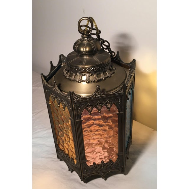 Gothic Brass Swag Lamp with Multi Colored Glass - Image 4 of 6