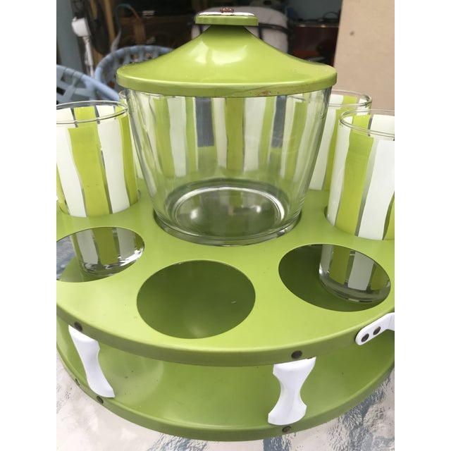 Green Vintage Mid-Century Modern Bar Glassware Ice Bucket and Tray Set For Sale - Image 8 of 12
