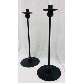 Pair Vintage Mid Modern Iron Candle Sticks Preview