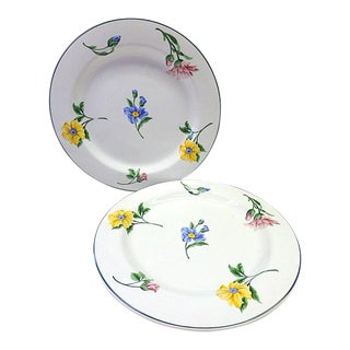 Vintage Tiffany & Co Sintra Floral Daisy Carnation Rose Charger Dinner Plates - a Pair For Sale