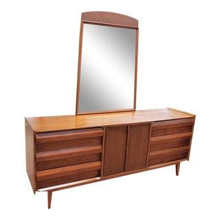 "Lane ""First Edition"" Mid-Century Lowboy Dresser & Mirror For Sale"