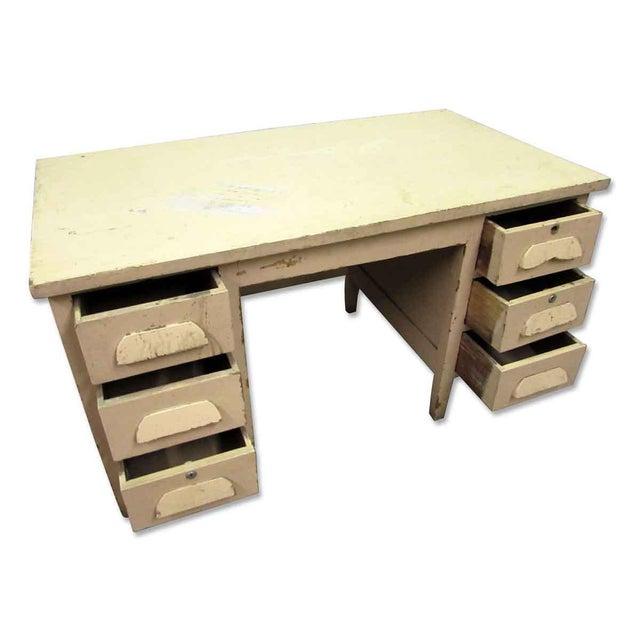 Vintage Six Drawer Oak Wood Desk For Sale - Image 4 of 8