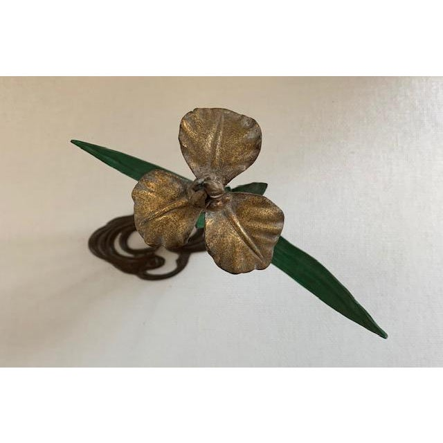Antique French Daffodil Iron Brass Flower For Sale - Image 4 of 8