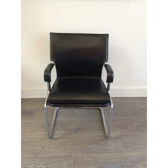 """Italian Marcatre Black Leather & Chrome """"Uno"""" Chair For Sale - Image 3 of 10"""