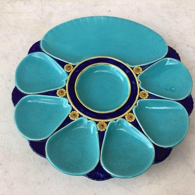 Ceramic 19th Century Majolica Aqua Oyster Plate Minton For Sale - Image 7 of 12