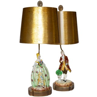 Dresden Figurines, Converted to Lamps - a Pair For Sale