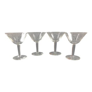 Antique Copper Etched Crystal Nudes Cocktail Glasses - Set of 4 For Sale