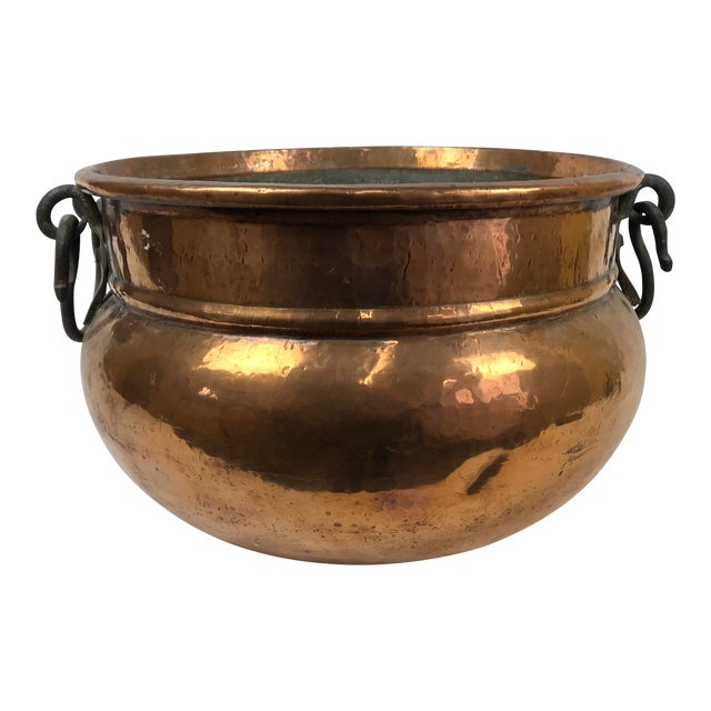 20th Century Traditional Hammered Copper Kettle Cauldron For Sale