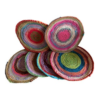 Set of Six Primitive Rustic Woven Placemats For Sale