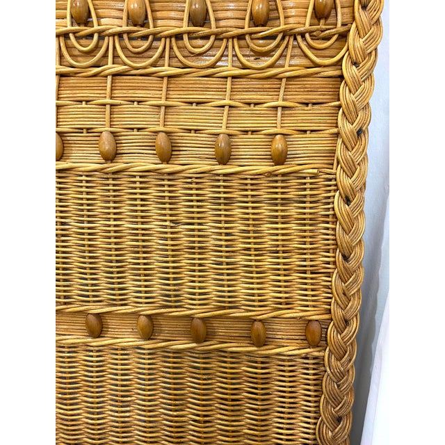 Tan 1960s Queen Size Wicker Headboard For Sale - Image 8 of 13