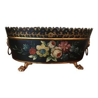 Late 20th Century Americana Black Floral Gold Tole Planter Bowl