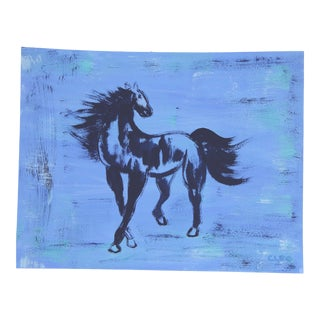Chinoiserie Horse in Blue by Cleo Plowden For Sale