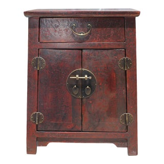 Oriental Distressed Brick Red Lacquer Side End Table Nightstand For Sale