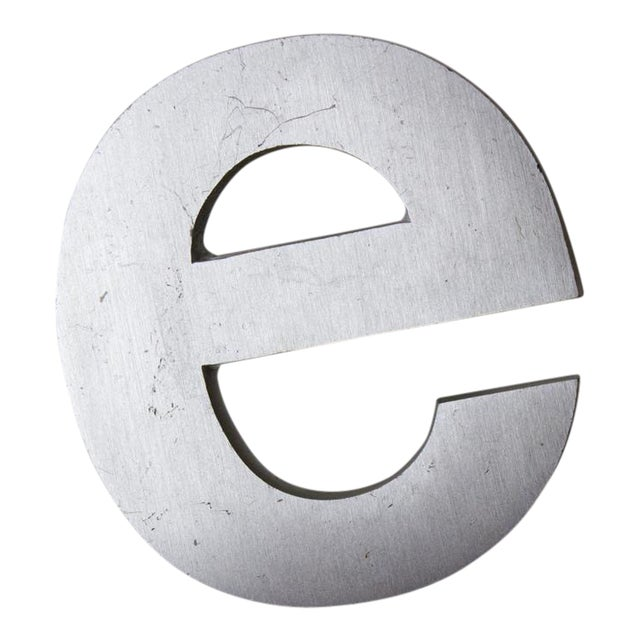Industrial Silver Salvaged Letter E For Sale