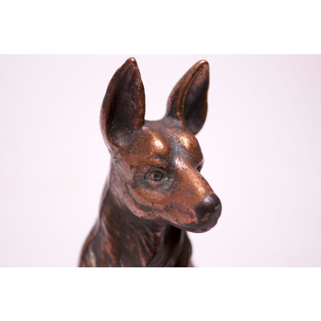 Copper Pair of 1920s Art Colony Industries Cast Iron 'German Shepherd' Bookends For Sale - Image 8 of 13