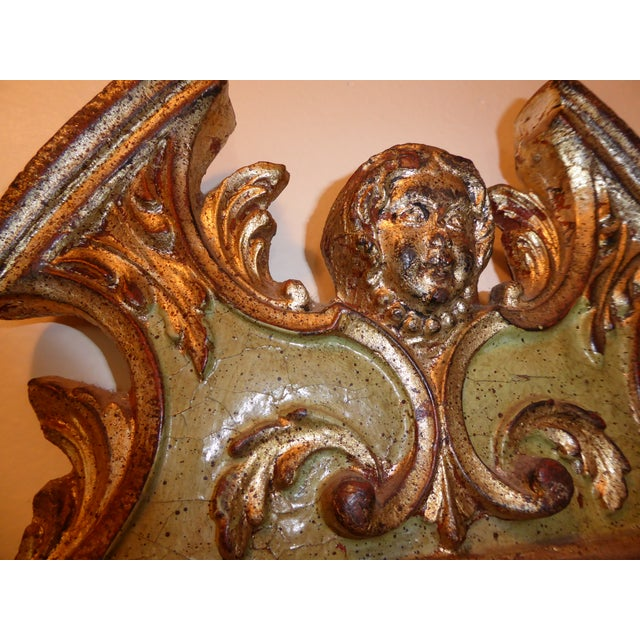 Vintage Rococo Green & Gold Gilt Carved Wood Mirror For Sale - Image 9 of 11