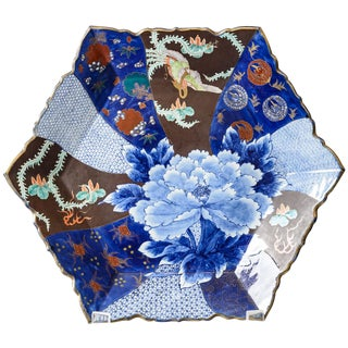 C. 1850 Blue and Brown Floral Imari Charger For Sale