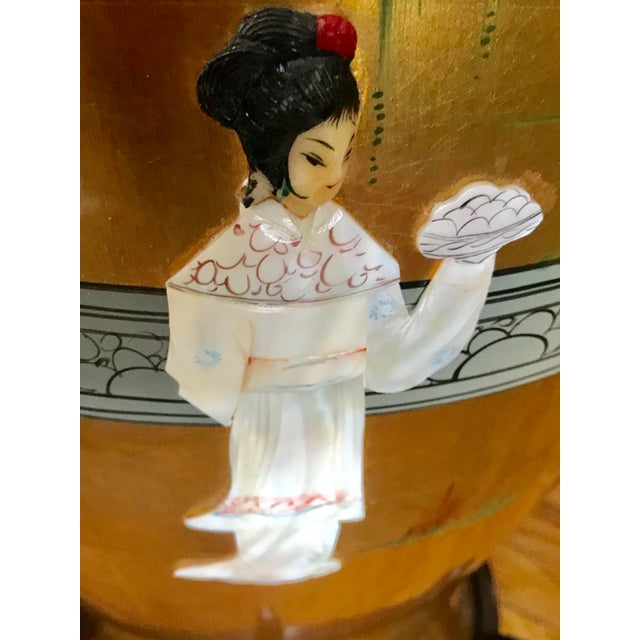Vintage Oriental Hand Painted Porcelain Vases With Mother-Of-Pearl - a Pair For Sale - Image 12 of 12