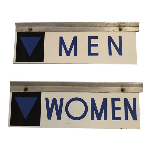 1950's Vintage Enamel Gas Station Men and Women Restroom Signs- A Pair For Sale