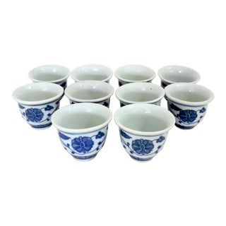 1980s Japanese Blue & White Floral Porcelain Sake Cups - Set of 10 For Sale